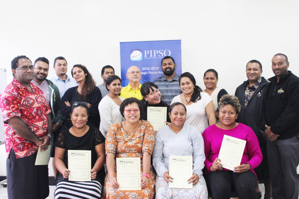Participants with Trainer Leslie Massey after getting their certificates in Small Business Training Level 1